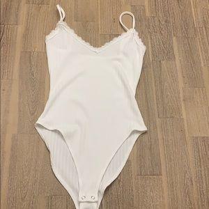 White Ribbed Forever 21 Bodysuit Small